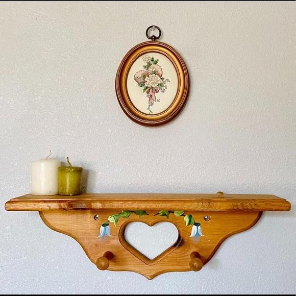 SOLD - Vtg Wooden Heart & Handpainted Flower Shelf